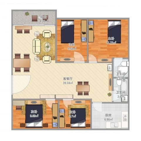 华兴楼4室2厅2卫1厨125.00㎡户型图