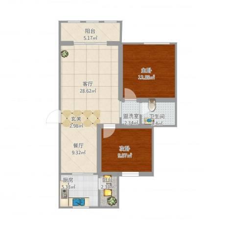 东岭欣城2室3厅1卫1厨97.00㎡户型图