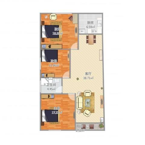 金苹果花园3室1厅1卫1厨132.00㎡户型图