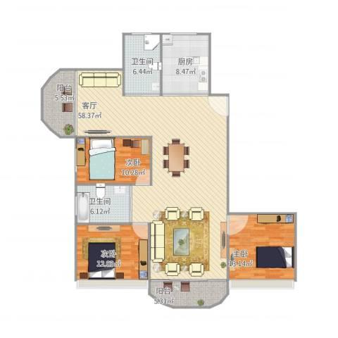 金苹果花园3室1厅2卫1厨168.00㎡户型图