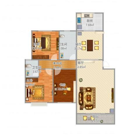 学府康城3室2厅2卫1厨156.00㎡户型图
