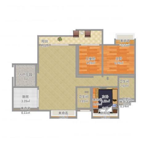 水岸花城4室2厅3卫1厨61.00㎡户型图