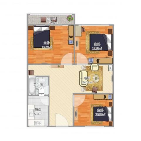 青塔蔚园3室1厅1卫1厨100.00㎡户型图