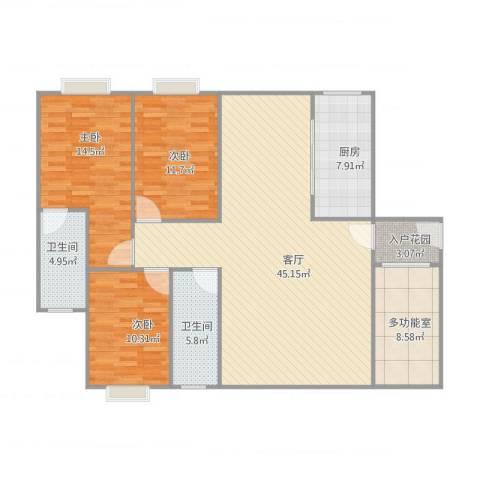 保利拉菲3室1厅2卫1厨150.00㎡户型图