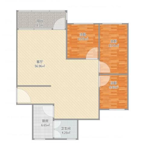 水运大楼3室1厅1卫1厨146.00㎡户型图