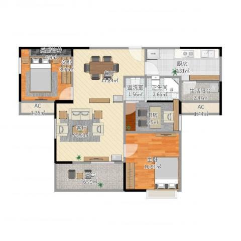 盛世家园3室3厅3卫1厨103.00㎡户型图