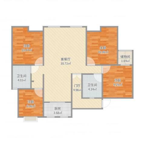 新里魏玛公馆4室2厅2卫1厨117.00㎡户型图