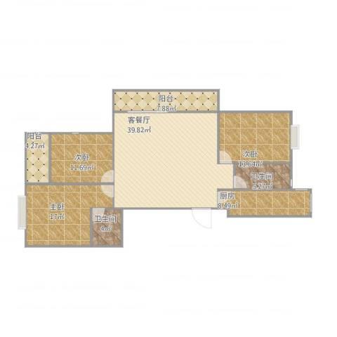 新和嘉苑3室2厅2卫1厨150.00㎡户型图
