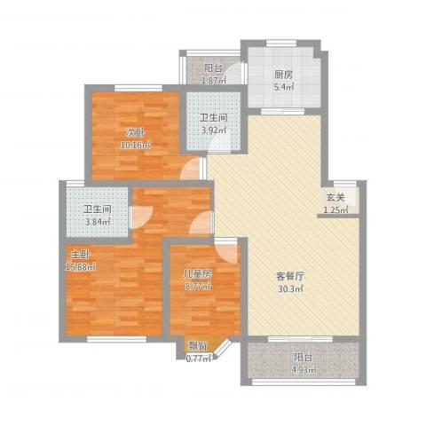 都市花园3室2厅2卫1厨123.00㎡户型图