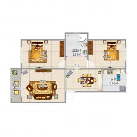 凯顺佳园2室2厅1卫1厨94.00㎡户型图