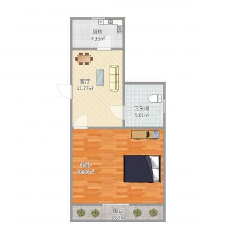 龙华西路81弄小区1室1厅1卫1厨62.00㎡户型图