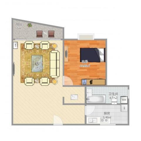 丽都成品1室1厅1卫1厨84.00㎡户型图