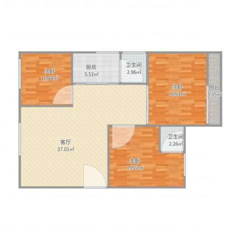红棉苑3室1厅2卫1厨125.00㎡户型图