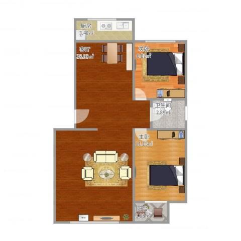 东城天下2室1厅1卫1厨90.00㎡户型图