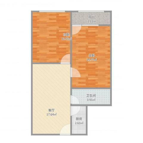 福桥里2室1厅1卫1厨75.00㎡户型图