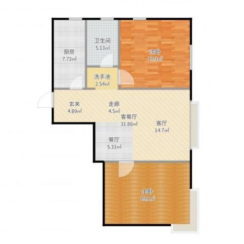 融侨观邸2室2厅1卫1厨101.00㎡户型图