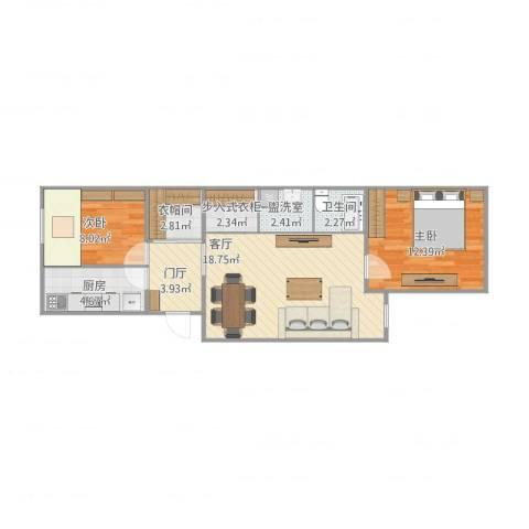 杨庄北区2室3厅1卫1厨78.00㎡户型图