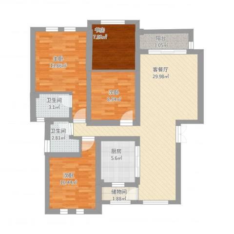 尼盛西城4室2厅2卫1厨133.00㎡户型图