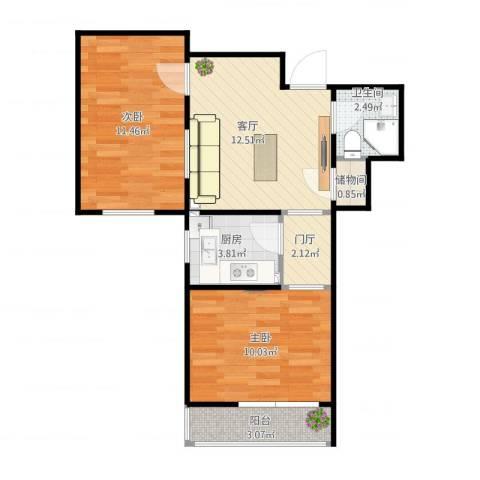 侨办大院2室1厅1卫1厨64.00㎡户型图