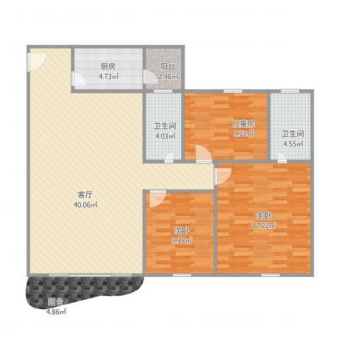 丽日玫瑰3室1厅2卫1厨122.00㎡户型图
