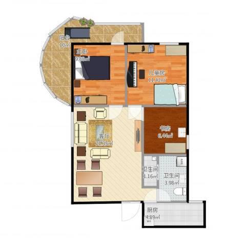 鲁谷住宅小区3室1厅2卫1厨93.00㎡户型图