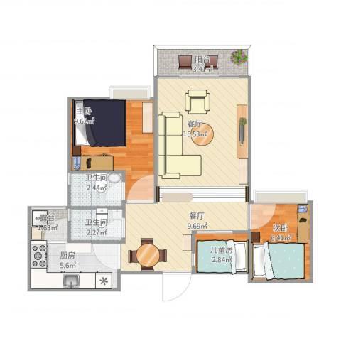 水岸花都3室1厅2卫1厨88.00㎡户型图