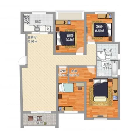 苏安新村140平米4室2厅2卫1厨145.00㎡户型图
