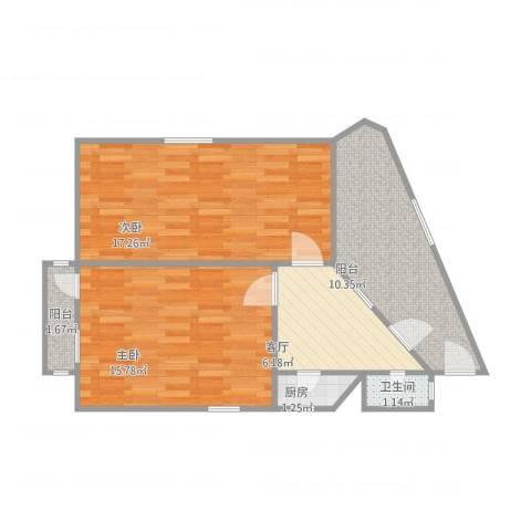 易川里2室1厅1卫1厨73.00㎡户型图