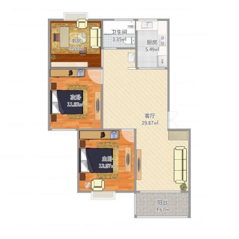 宁沁家园3室1厅1卫1厨104.00㎡户型图