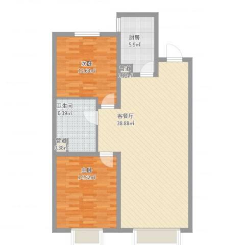 城市玫瑰园2室2厅1卫1厨111.00㎡户型图