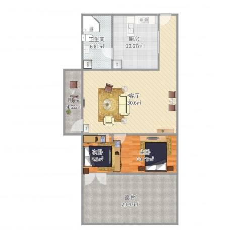 富安花园2室1厅1卫1厨119.00㎡户型图