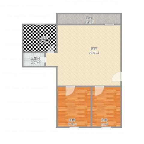 怡乐居2室1厅1卫1厨65.00㎡户型图