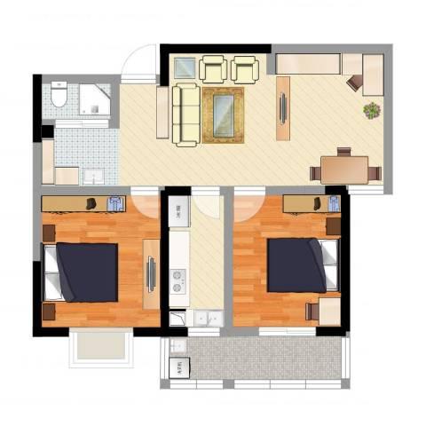 康恒悦麒美寓2室1厅1卫1厨81.00㎡户型图