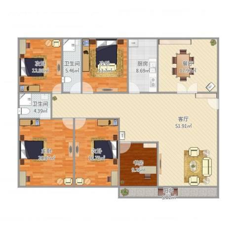 汇银城市花园5室2厅2卫1厨222.00㎡户型图
