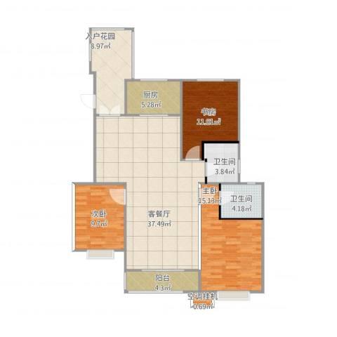 金泰华城3室2厅2卫1厨135.00㎡户型图