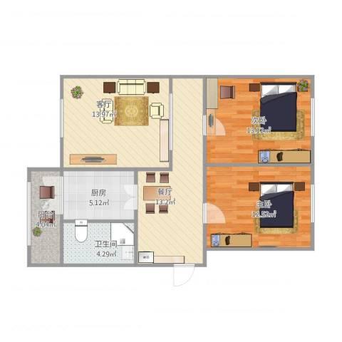 普阳小区2室2厅1卫1厨71.78㎡户型图
