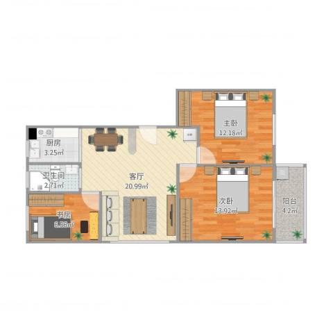 腾飞新城3室1厅1卫1厨86.00㎡户型图