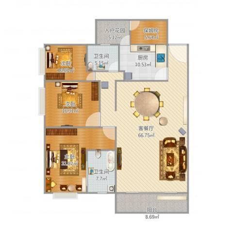 君临宝邸3室2厅2卫1厨206.00㎡户型图