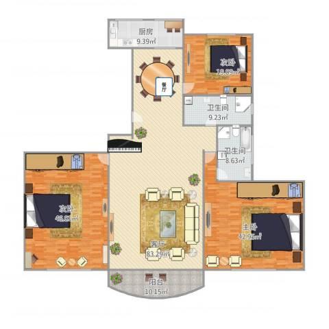 曹路家苑3室1厅2卫1厨299.00㎡户型图