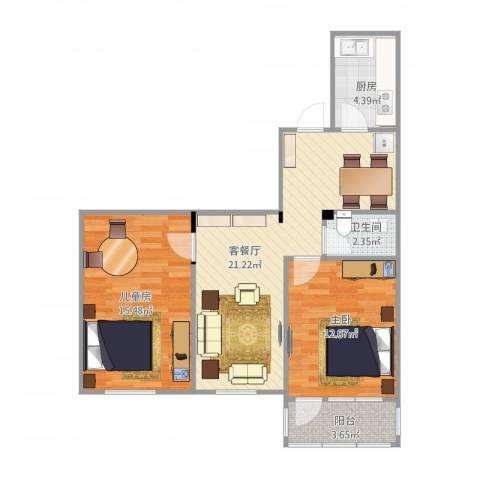 双榆树东里22楼-微2室2厅1卫1厨80.00㎡户型图