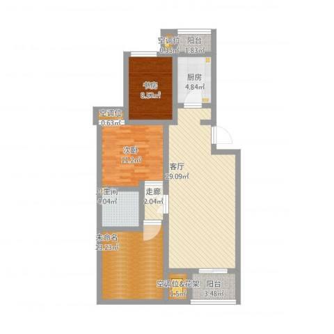 龙腾苑六区2室1厅1卫1厨122.00㎡户型图