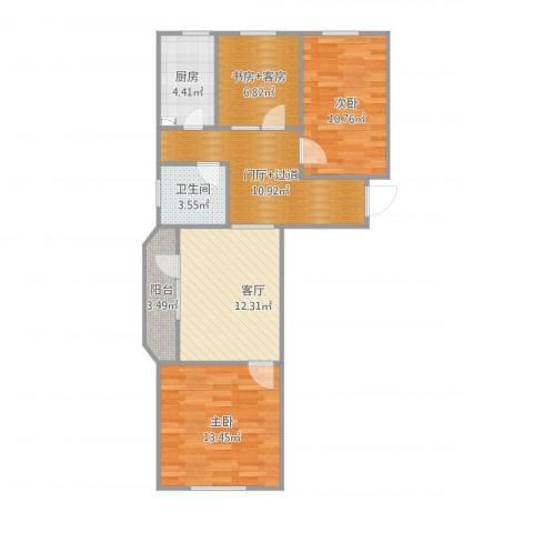 安慧东里1号院2室1厅1卫1厨85.00㎡户型图