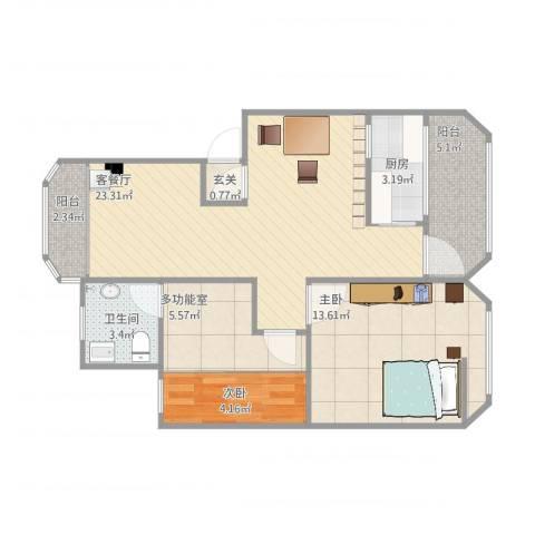 盛昌楼2室2厅1卫1厨84.00㎡户型图