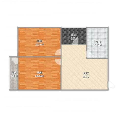 东山小区2室1厅1卫1厨121.00㎡户型图