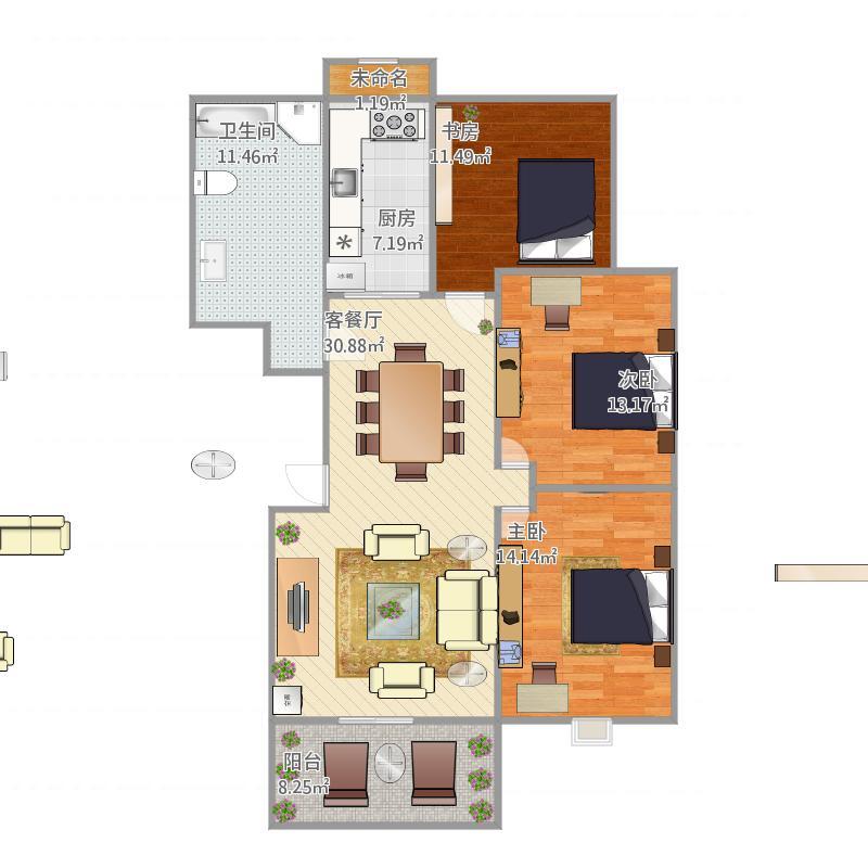 119.27平方三室两厅一厨一卫