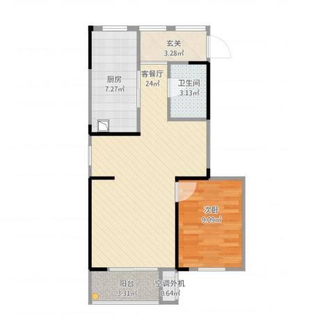 华润城立方1室2厅2卫1厨70.00㎡户型图