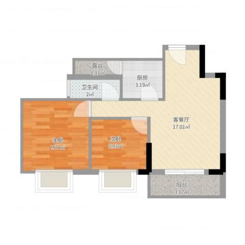 康格斯花园2室2厅1卫1厨61.00㎡户型图