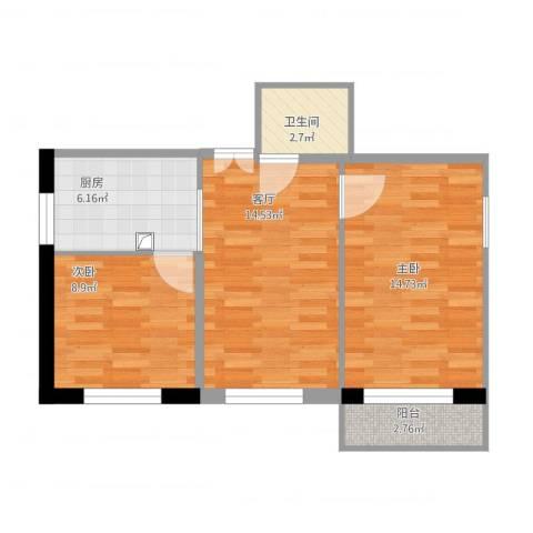 安华西里2室1厅1卫1厨71.00㎡户型图