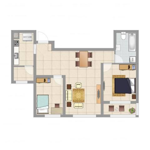 嘉美广场2室2厅2卫1厨76.00㎡户型图