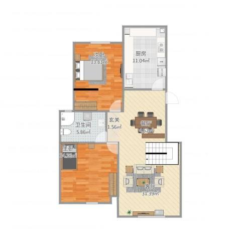 山中的都铎建筑2室1厅1卫1厨102.00㎡户型图